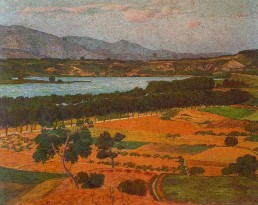 Llac de Banyoles. Oli sobre cartró, 1905.