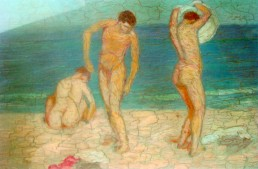 Homes a la platja. Oli sobre taula, 1904.